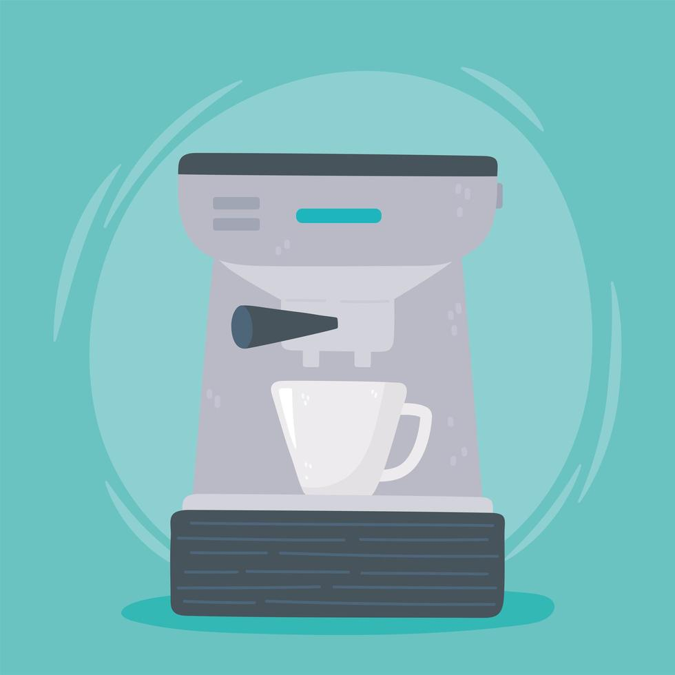 máquina de café expresso bebida quente vetor