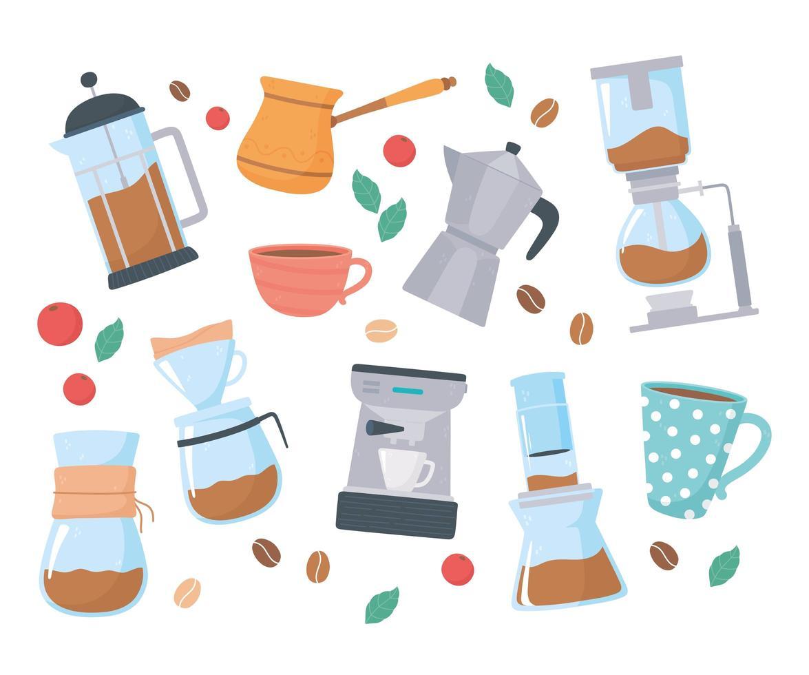 conjunto de métodos de preparação de café vetor
