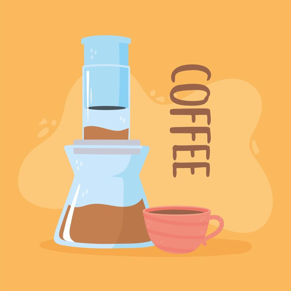 métodos de preparação do café. aeropress e xícara de café vetor