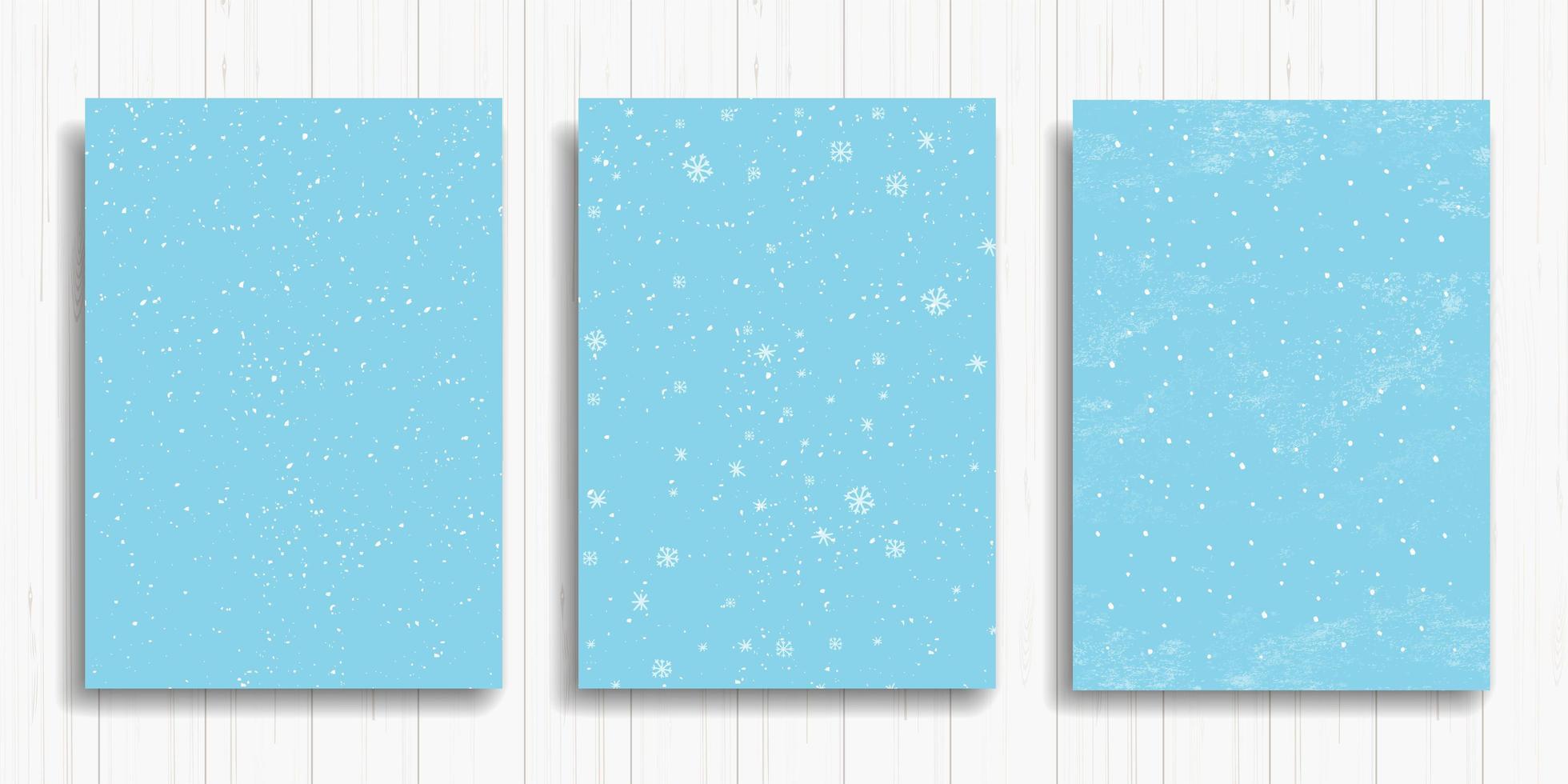 conjunto de cartas de inverno azuis vetor