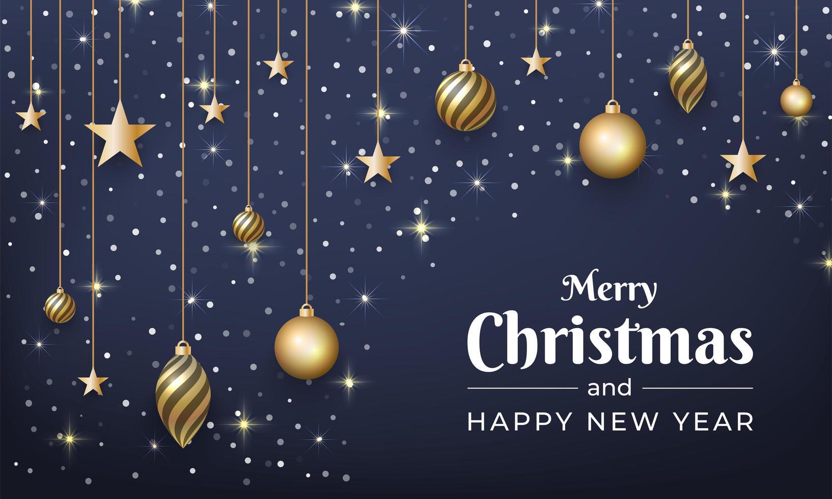 design de natal e ano novo com glitter, enfeites de ouro vetor