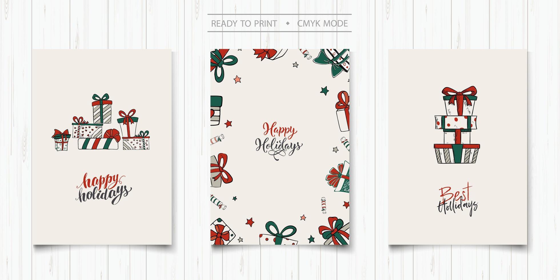 conjunto de cartões de férias minimalistas estilo desenhado à mão vetor