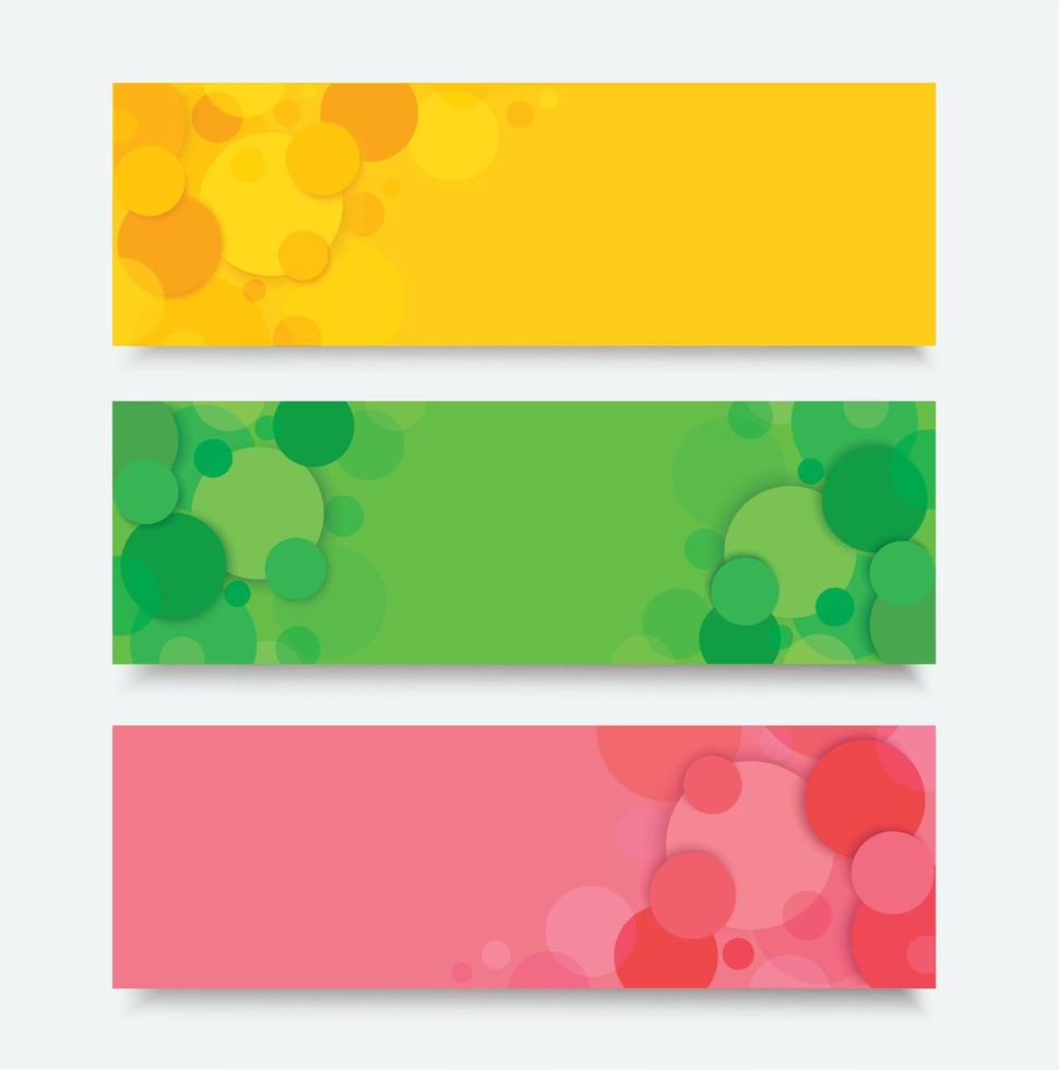 conjunto de banner abstrato de círculo colorido vetor