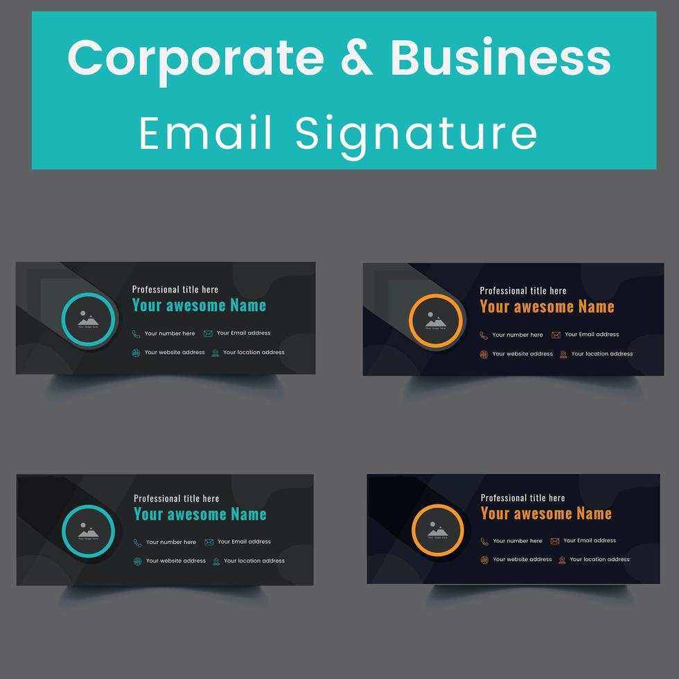 conjunto de modelos de assinatura de e-mail profissional e pessoal vetor