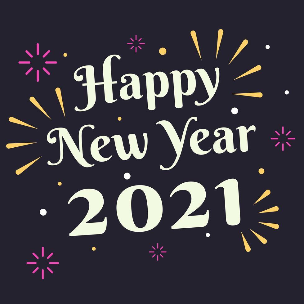 cartão de feliz ano novo 2021 com fogos de artifício vetor