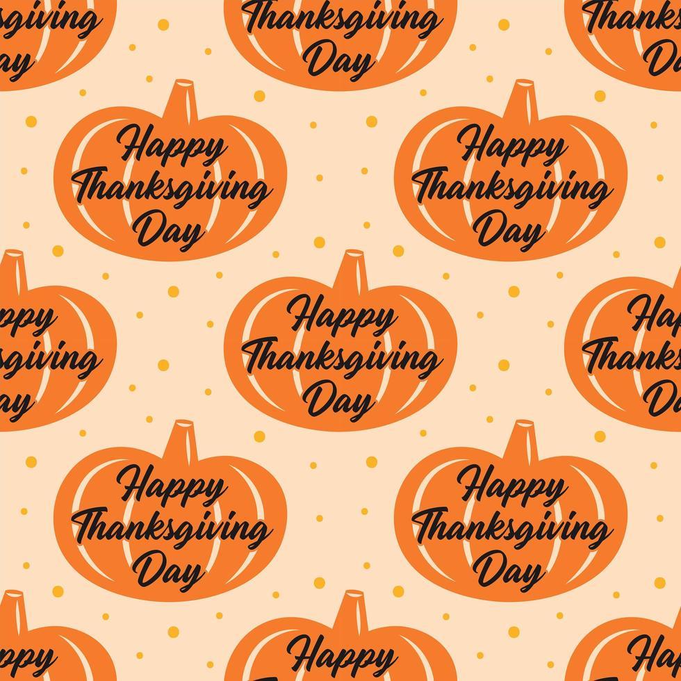 feliz dia de graças laranja abóbora padrão sem emenda vetor