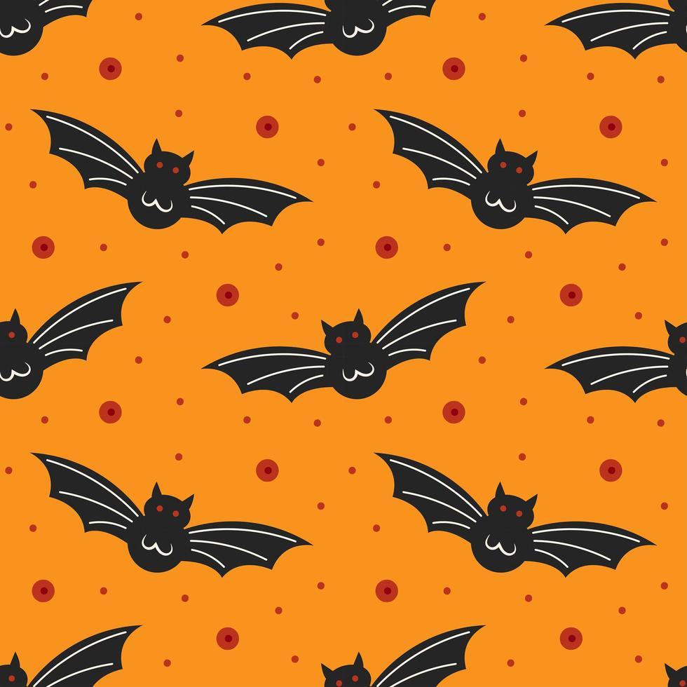morcegos pretos em laranja padrão sem emenda de halloween vetor