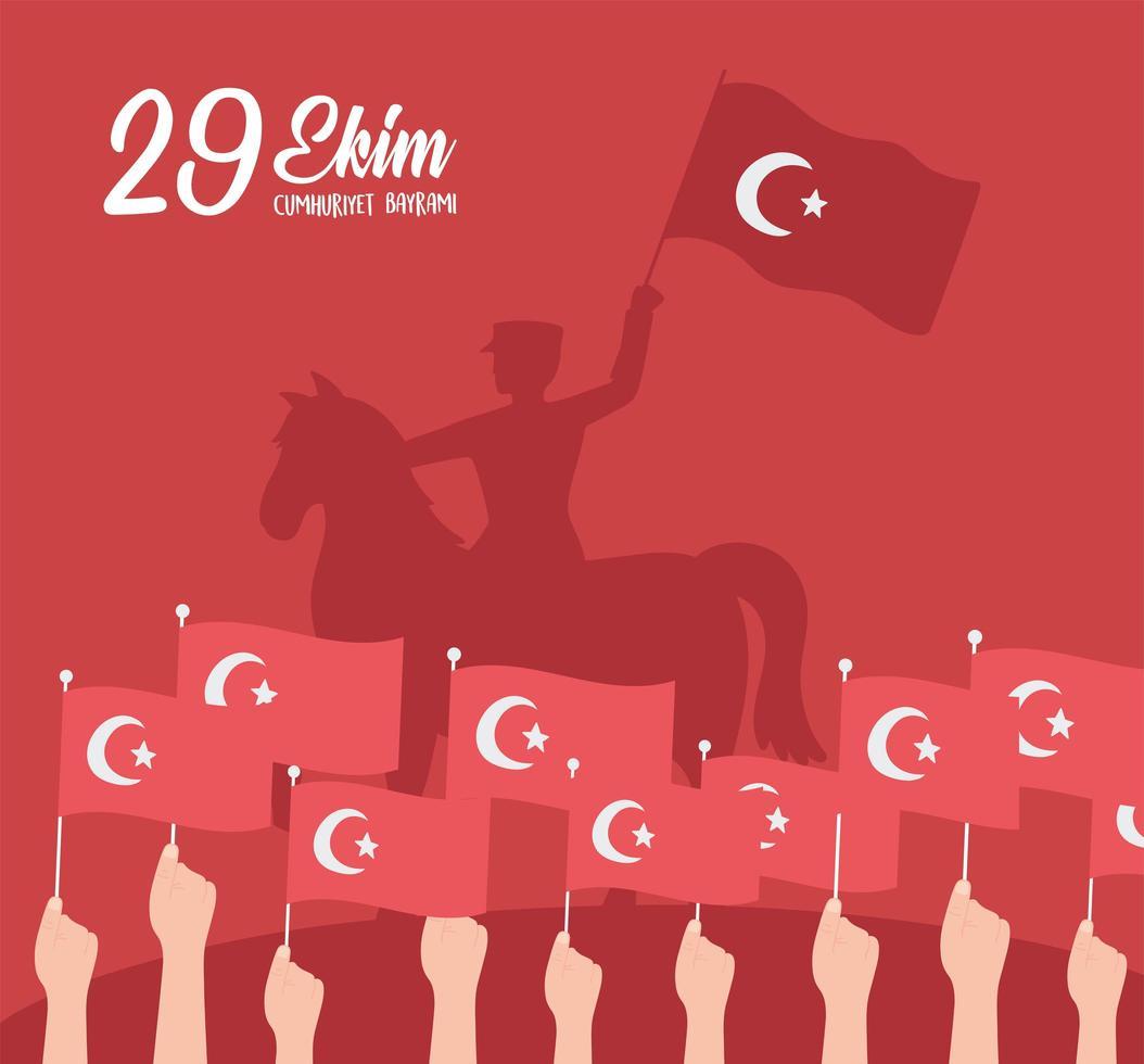 dia da república da Turquia. cavalgando militar a cavalo e mãos vetor