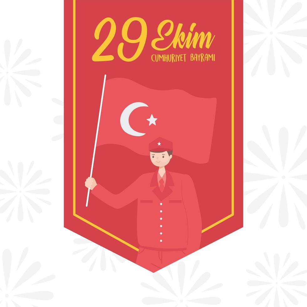 dia da república da Turquia. soldado pendente com bandeira vetor