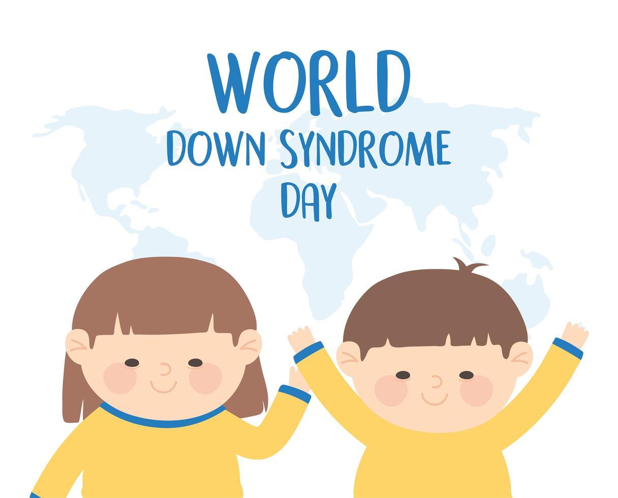 dia mundial da síndrome de down. menina, menino e mapa vetor