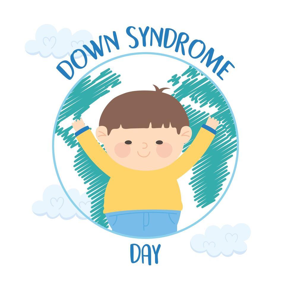 dia mundial da síndrome de down. menino feliz no globo vetor