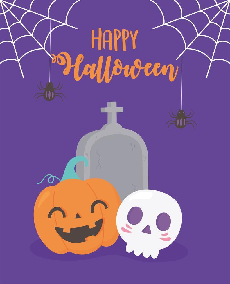 feliz Dia das Bruxas. abóbora, crânio, lápide, teia de aranha e aranha vetor