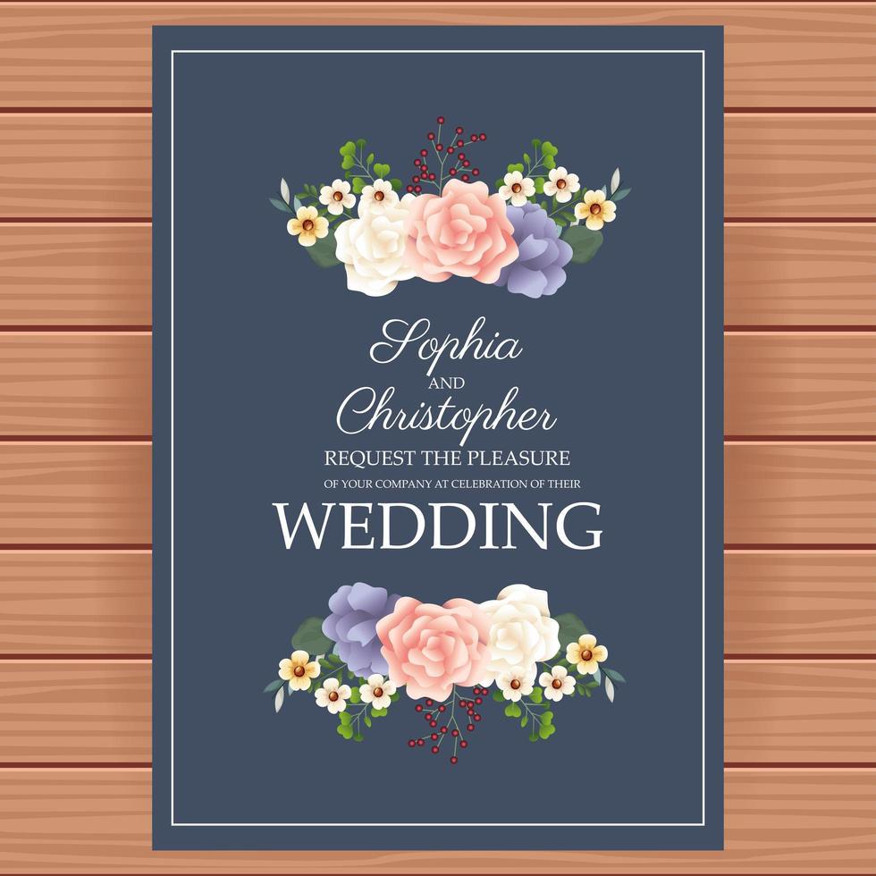 convite de casamento com decoração floral vetor