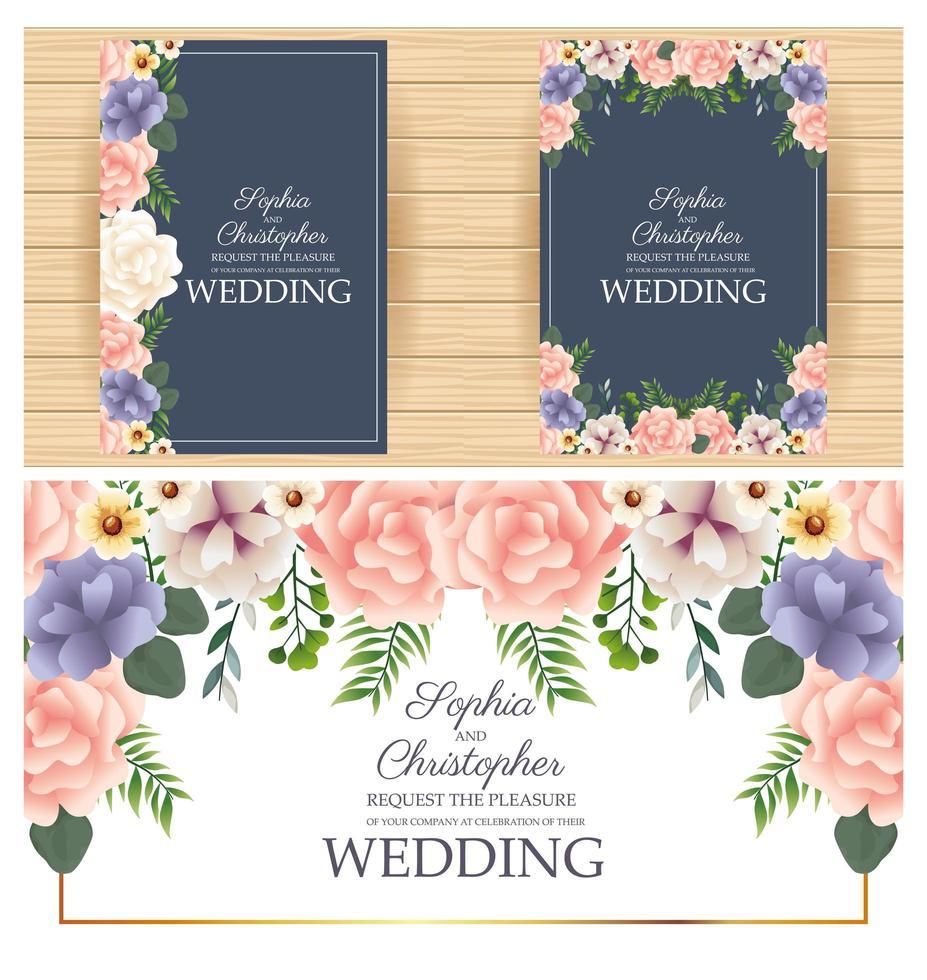 Conjunto de convite de casamento com moldura quadrada floral vetor