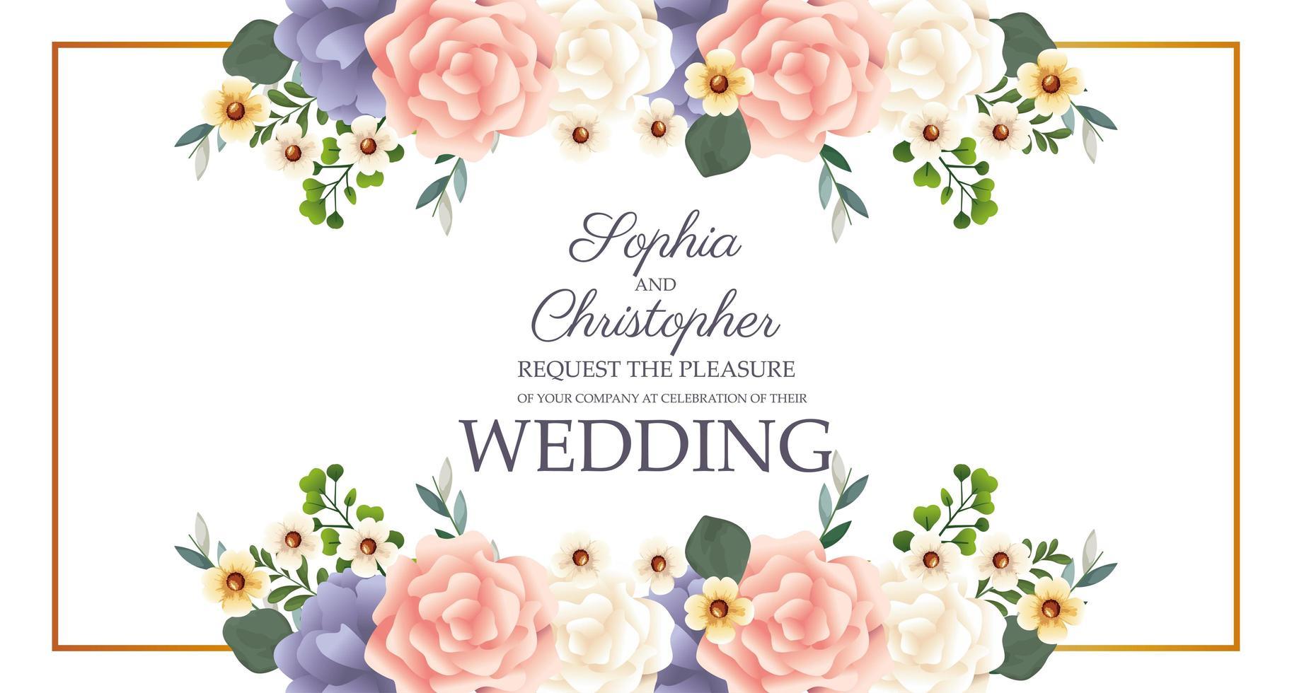convite de casamento com moldura floral retangular vetor
