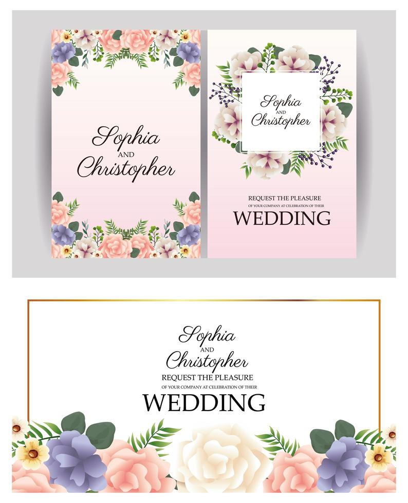 Conjunto de convite de casamento com molduras florais vetor
