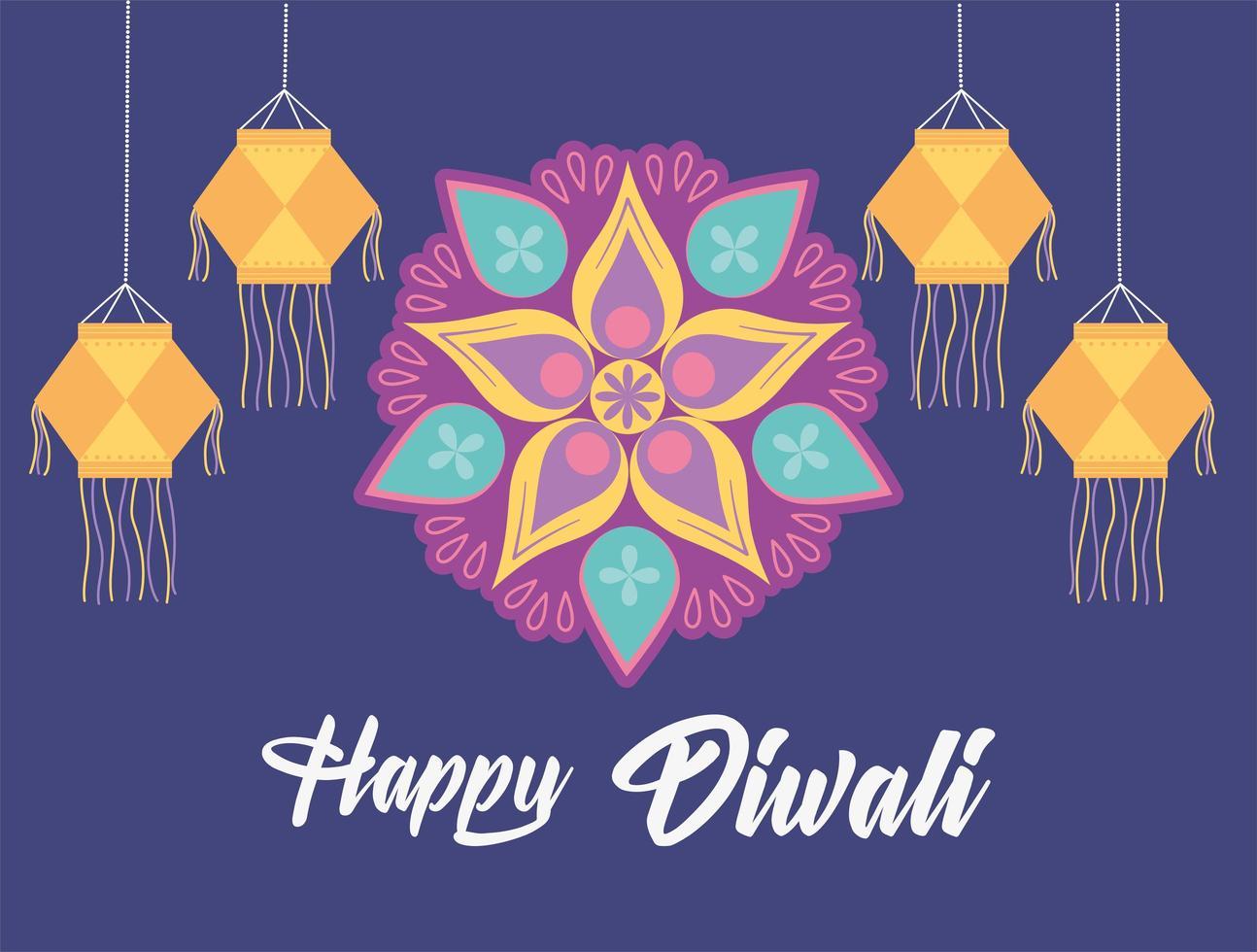 feliz festival de diwali. lâmpadas tradicionais e flor de mandala vetor