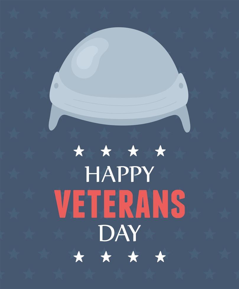 Feliz Dia dos Veteranos. capacete de proteção uniforme vetor