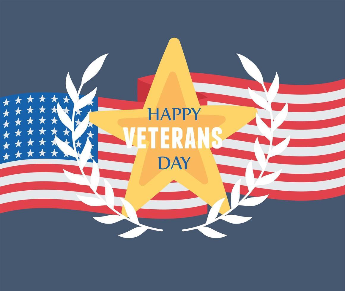 Feliz Dia dos Veteranos. emblema estrela e bandeira nacional vetor