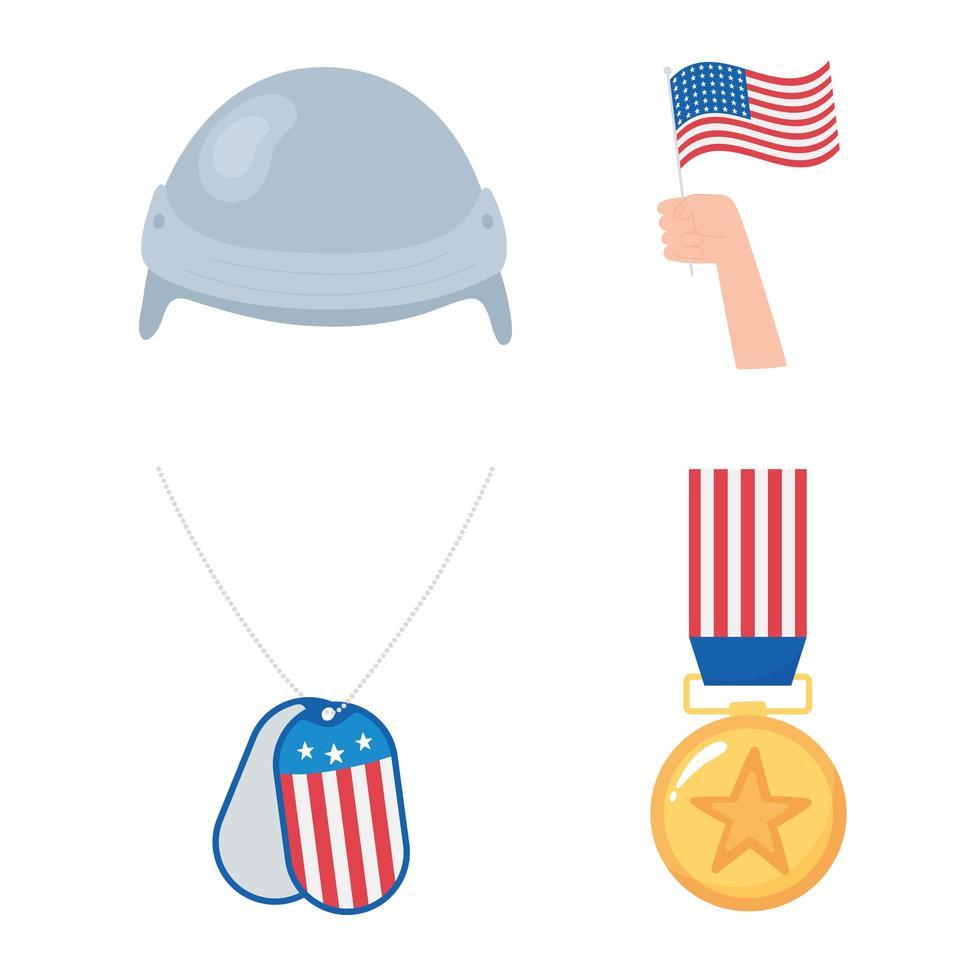 Feliz Dia dos Veteranos. medalha, bandeira e capacete vetor