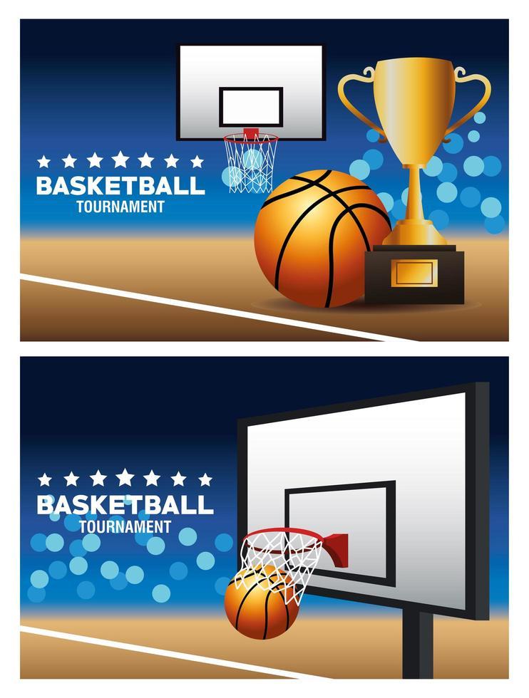 conjunto de banner do torneio de basquete vetor