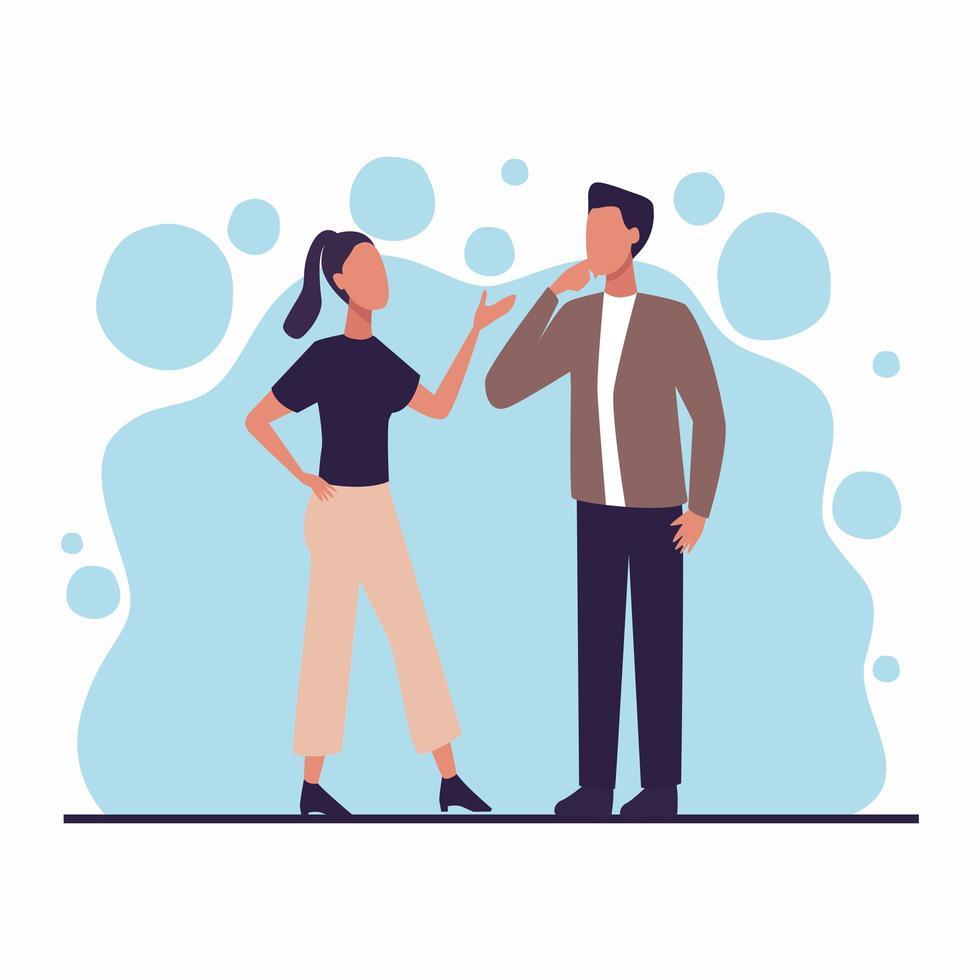 jovem casal conversando vetor