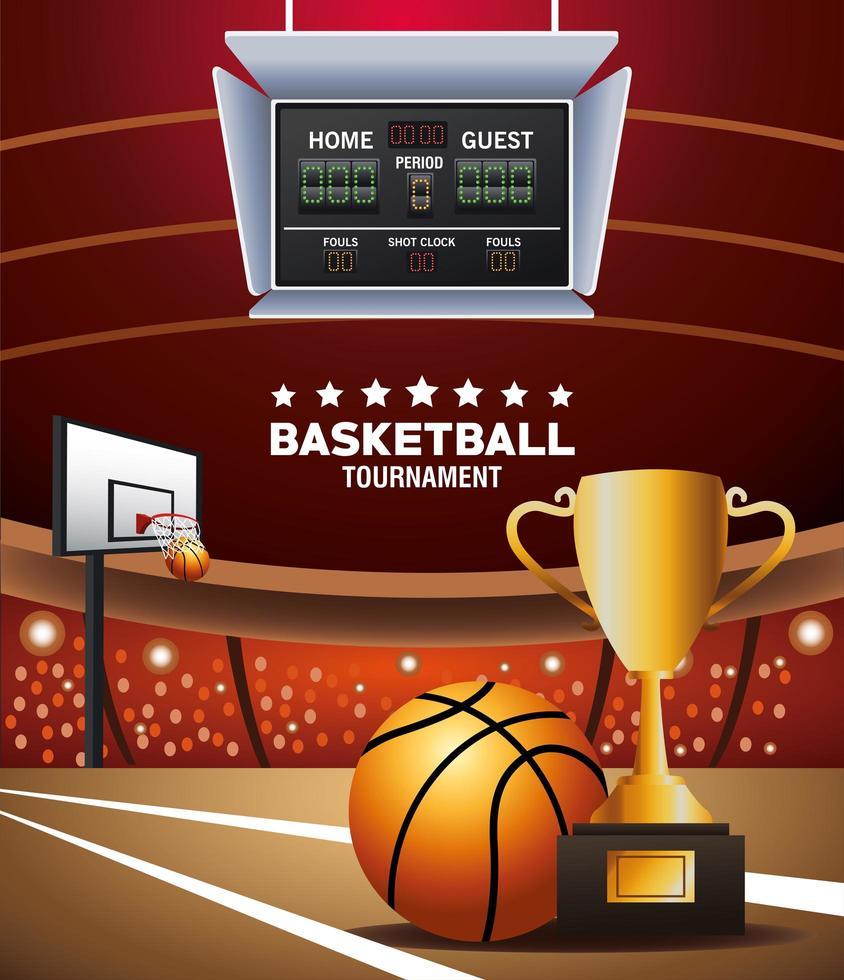 banner de torneio de basquete com bola e troféu vetor