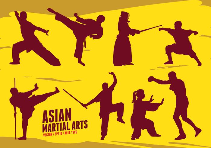 Artes marciais asiáticas vetor