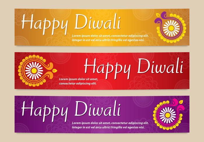 Brilhantes Diwali Banners vetores