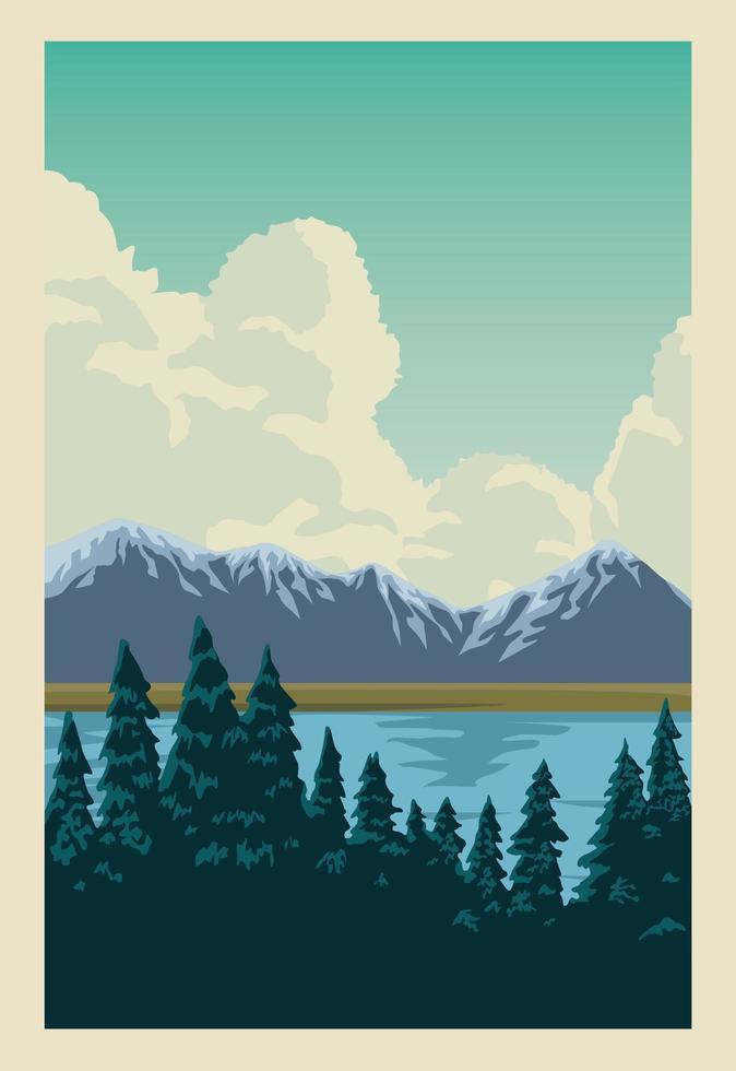 bela paisagem com lago e pinheiros vetor