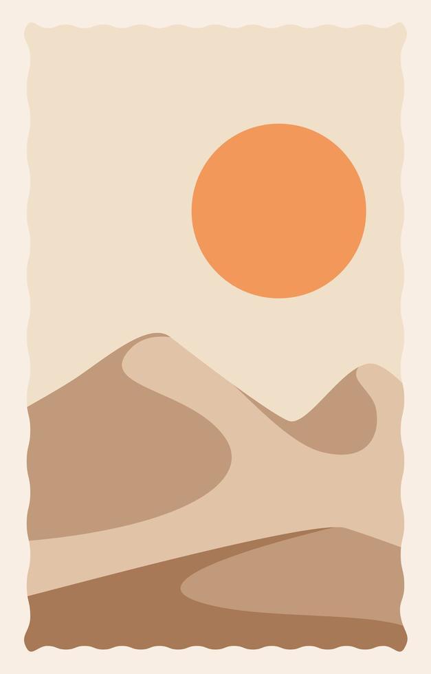 paisagem de deserto com dunas e sol vetor