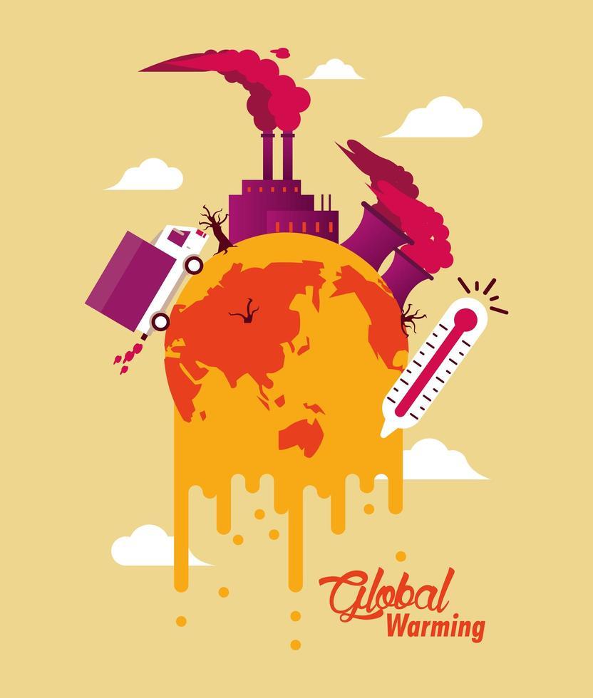 alerta de aquecimento global com planeta em crise vetor