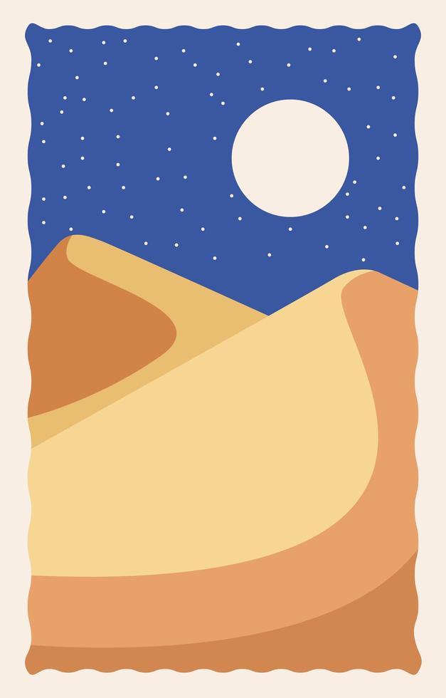 cena da paisagem do deserto à noite vetor