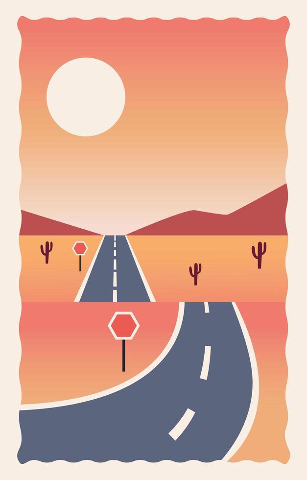 cena da paisagem do deserto com estrada vetor