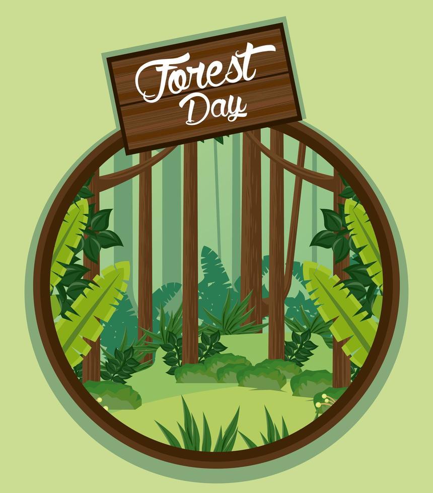 paisagem para a celebração do dia da floresta vetor