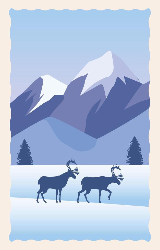 cena de neve com montanhas e alces vetor