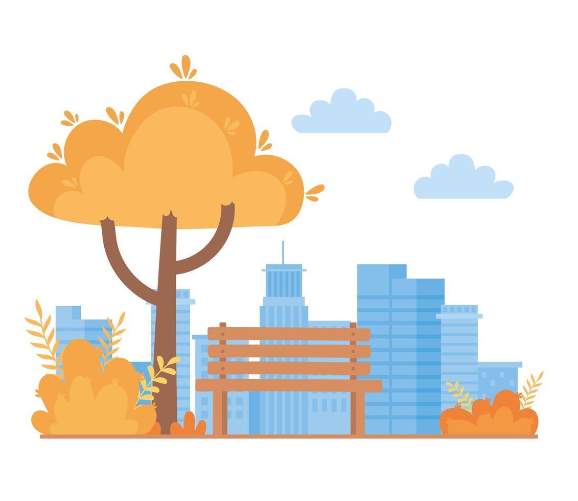 paisagem no outono. parque de bancos, árvores e arbustos vetor