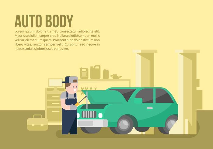Auto corpo e fundo Mechanic vetor