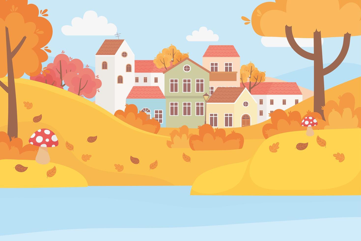 paisagem no outono. casas de aldeia, árvores e folhas vetor