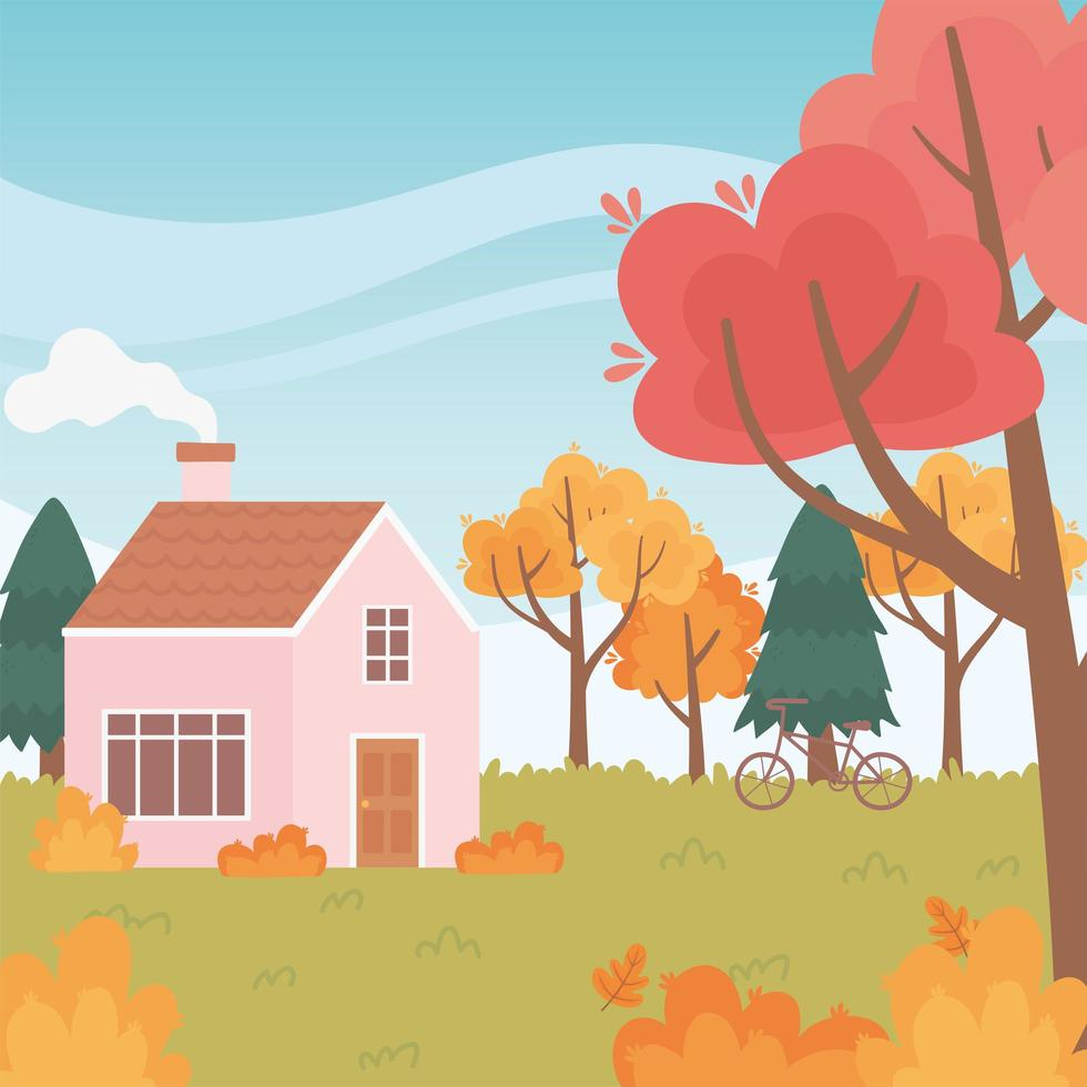 paisagem no outono. casa com chaminé e bicicleta vetor