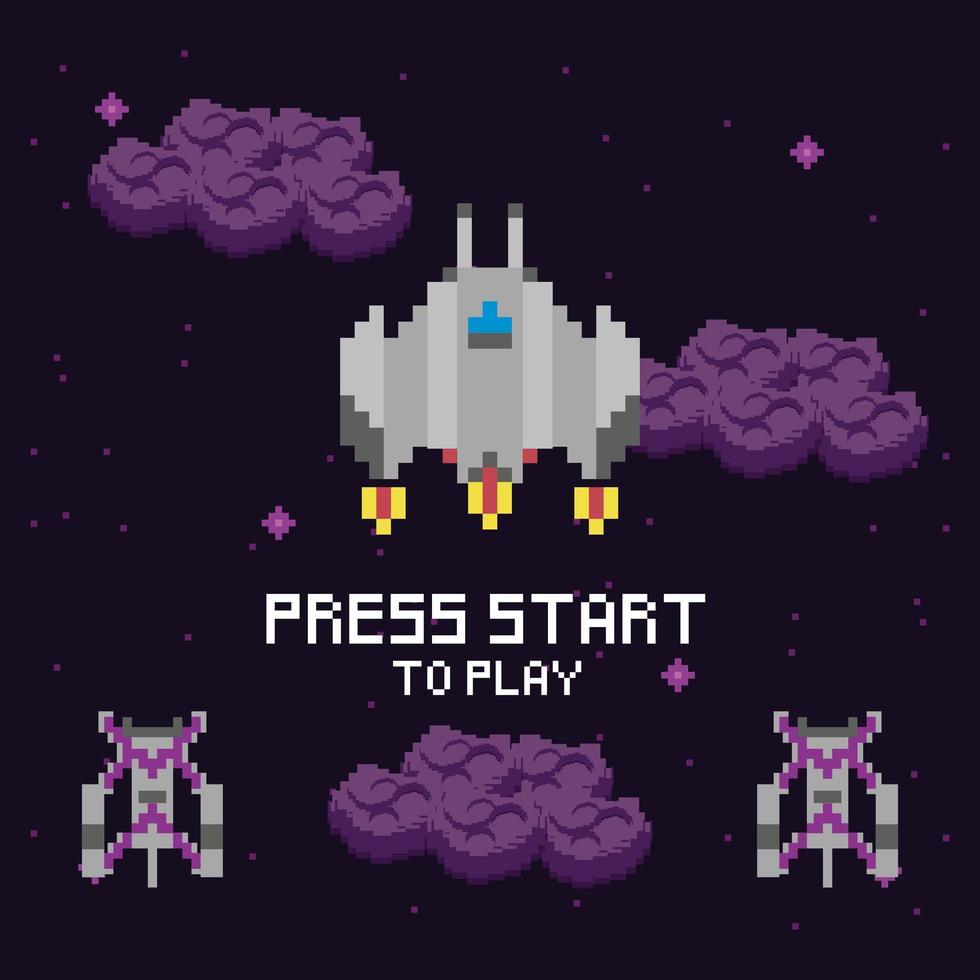 cena espacial do videogame com mensagem para iniciar vetor