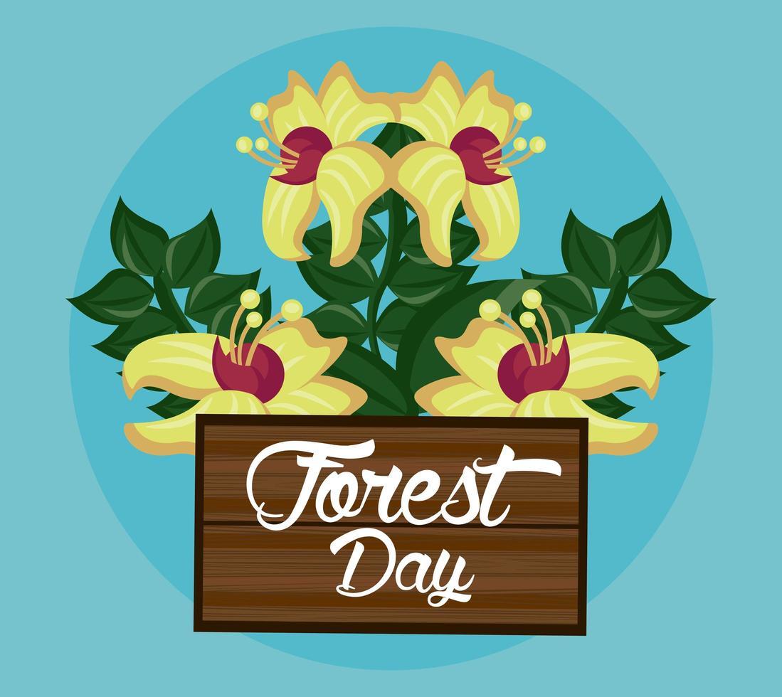 flores silvestres para a celebração do dia da floresta vetor