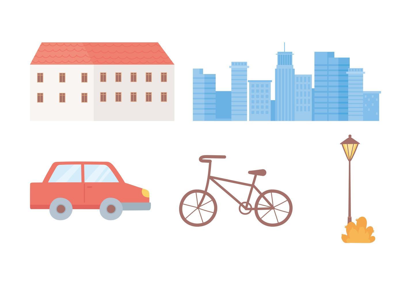 conjunto de ícones de construção, paisagem urbana, carro, bicicleta e lâmpada vetor