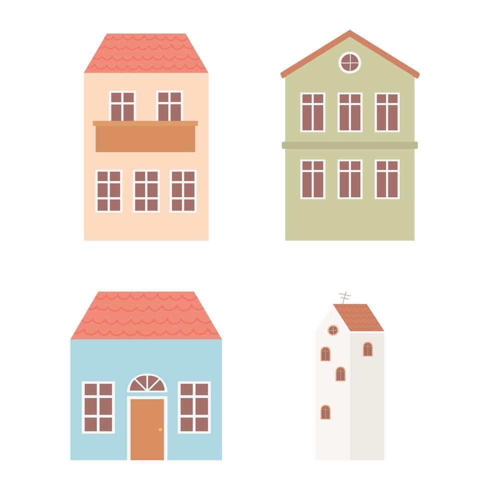 conjunto de fachada de arquitetura externa de casas e chalés vetor