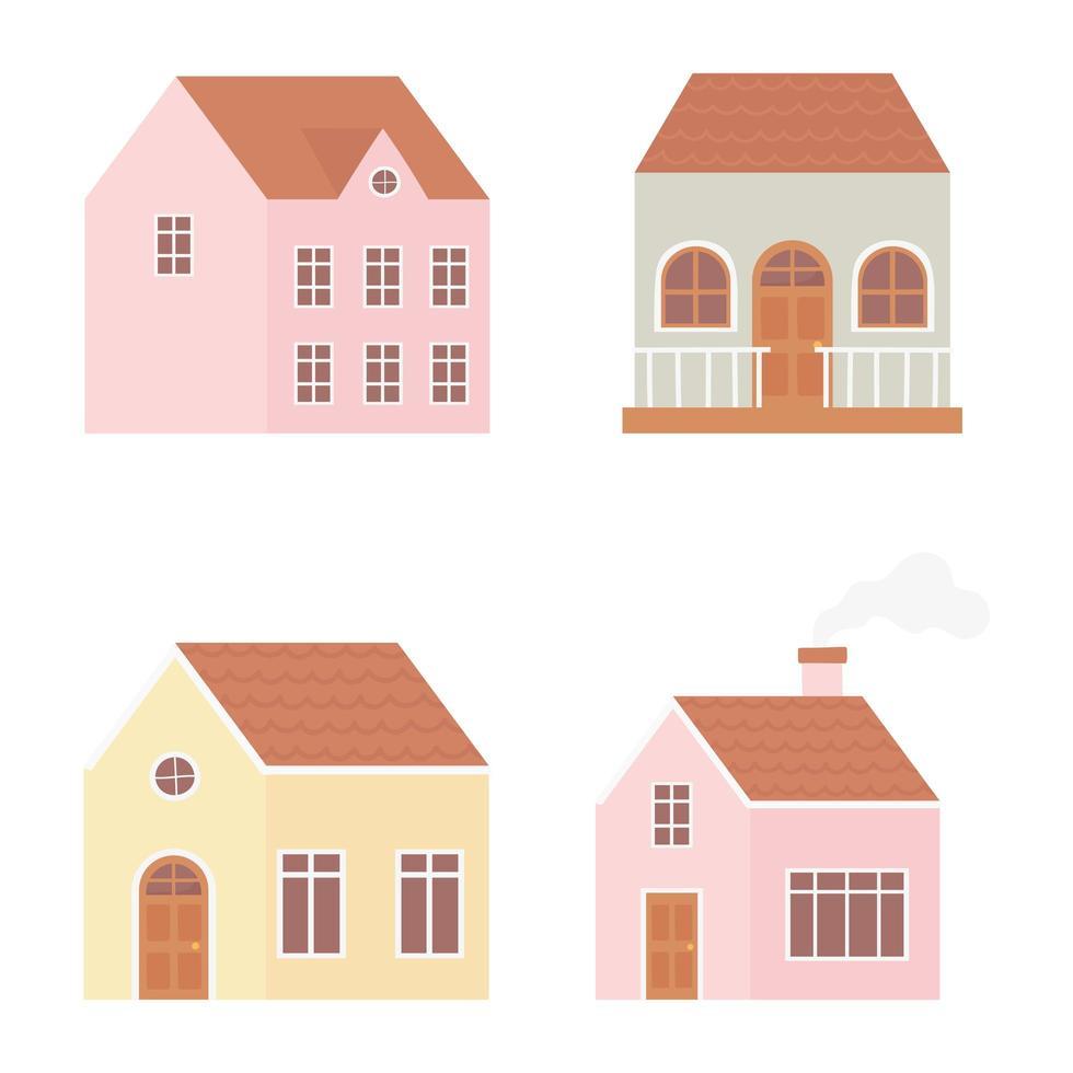 conjunto de construção exterior de diferentes casas vetor