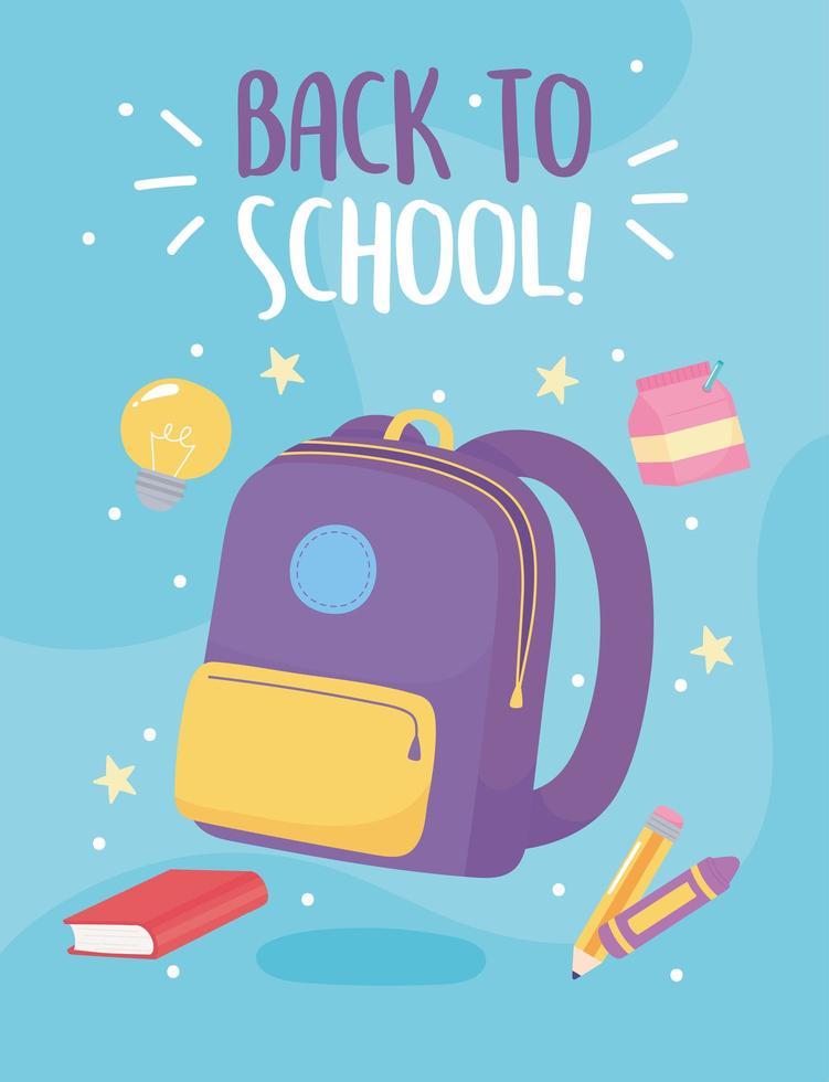 de volta à escola. bolsa, livro, lápis e giz de cera vetor