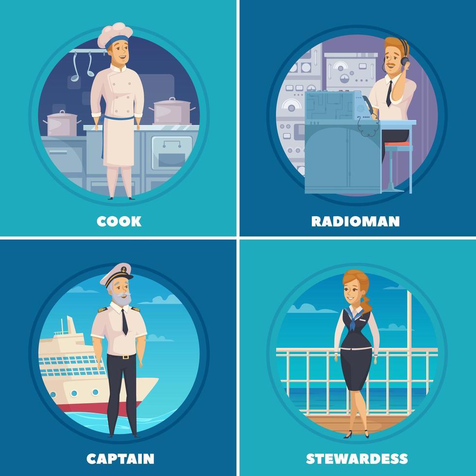 desenhos animados de personagens da tripulação de iate navio vetor