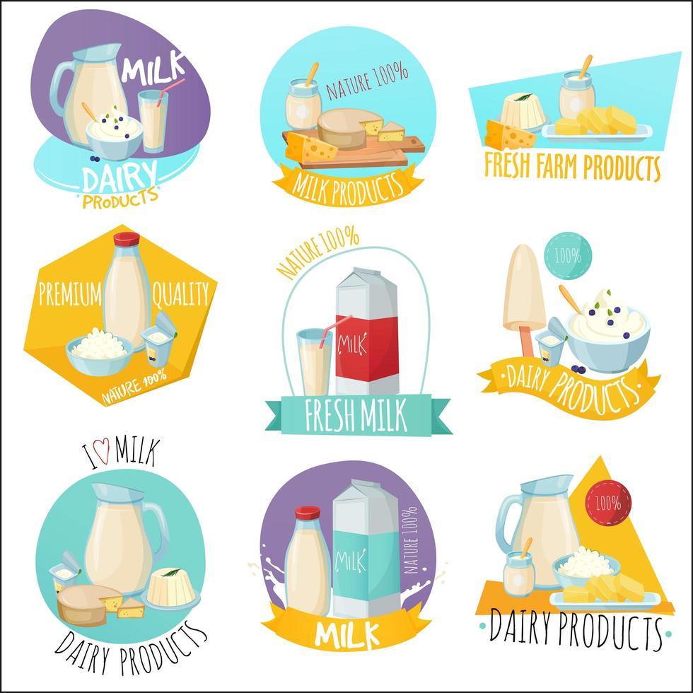conjunto de produtos lácteos vetor