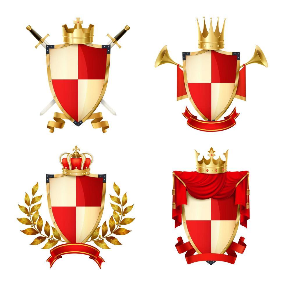 coroas composições heráldicas de ouro vetor