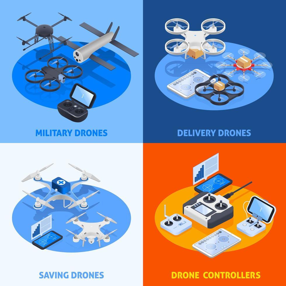 drones isométricos 2x2 vetor